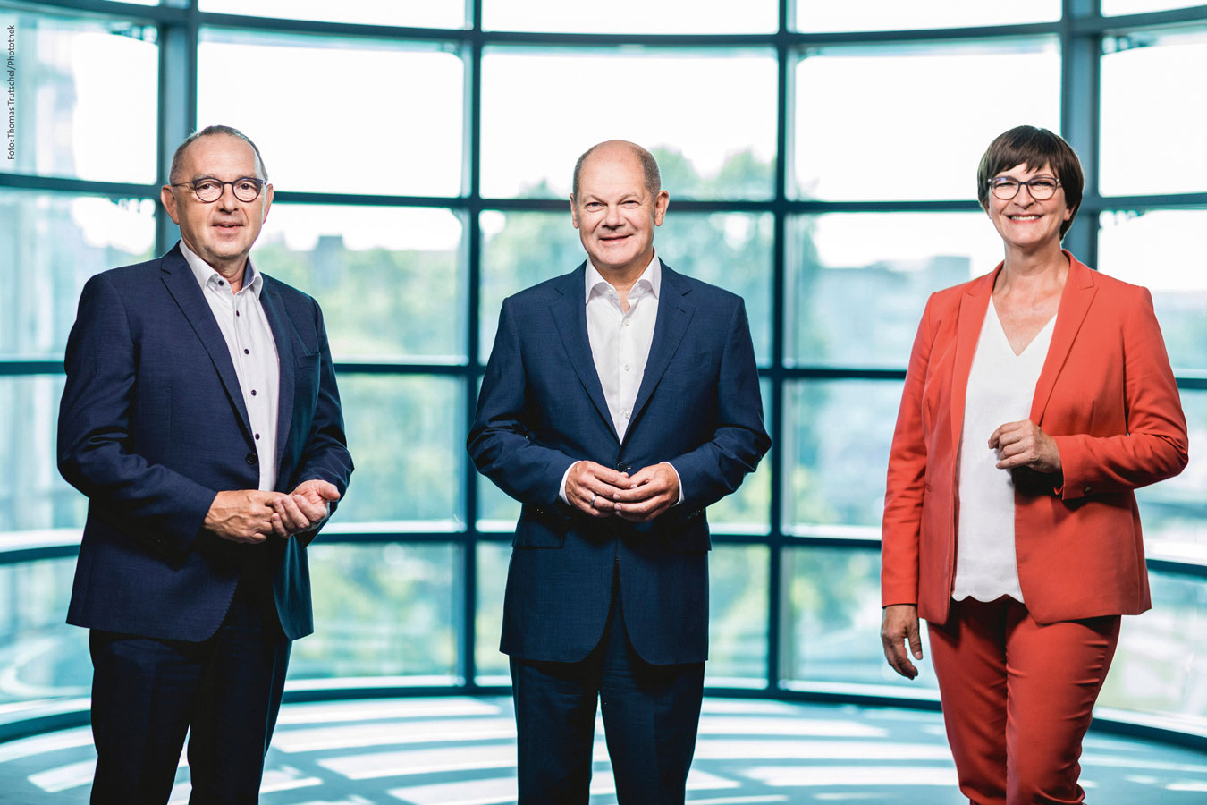 Die Parteivorsitzenden mit Olaf Scholz